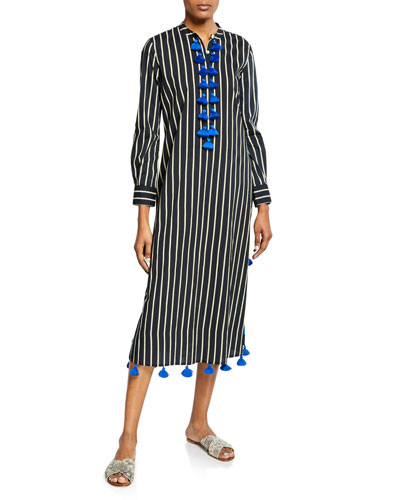 Paolina Striped Tassel-Trim Kaftan