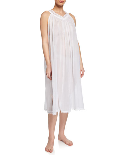 Izabel Sleeveless Long Nightgown with Lace Trim