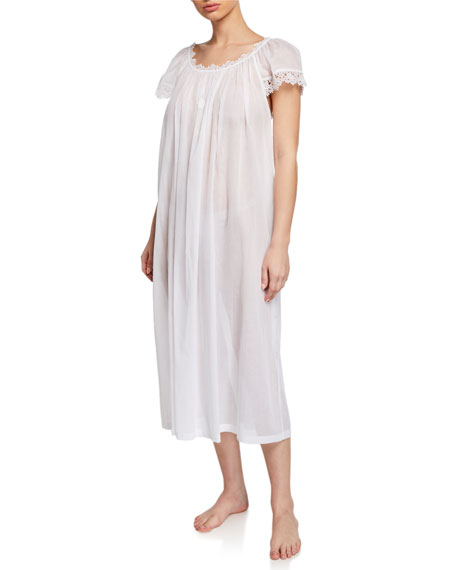 Celestine Miri Scoop-Neck Cap-Sleeve Nightgown with Lace Trim