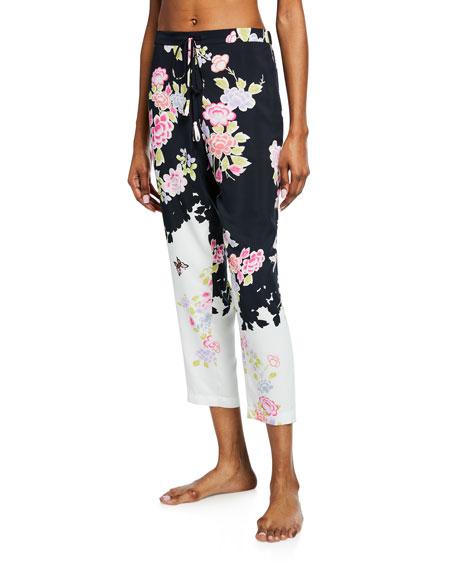 Natori Loungewears GARDENIA FLORAL-PRINT LOUNGE PANTS