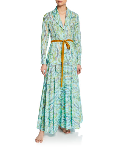 Severine Floral-Print Long Robe