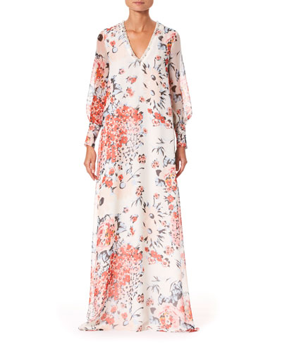 Floral Embroidered Chiffon V-Neck Caftan Gown