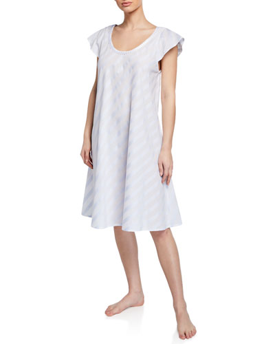 Daliah Short-Sleeve Celestine Satin Striped Short Nightgown