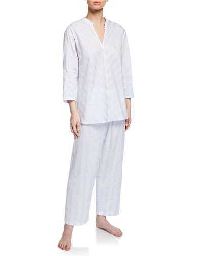 Daliah Cropped Celestine Satin Striped Two-Piece Pajama Set