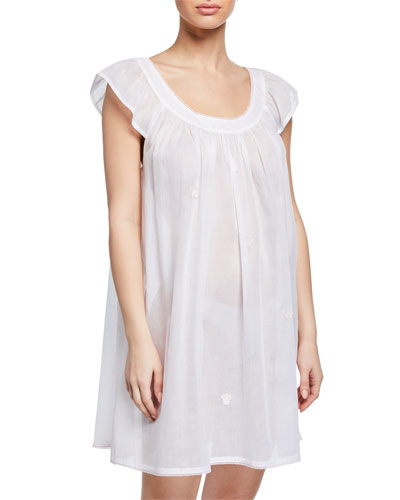Saphira Scoop-Neck Cap-Sleeve Babydoll Nightgown