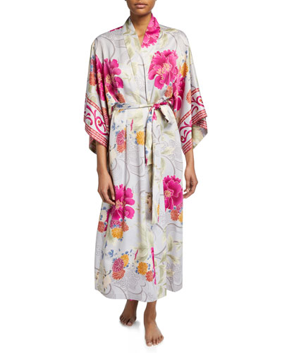 Auburn Floral Long Satin Robe