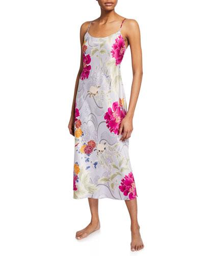 Auburn Floral Satin Slip Nightgown
