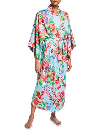 Star Blossom Long Satin Robe