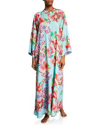 Star Blossom Floral-Print Zip-Front Caftan