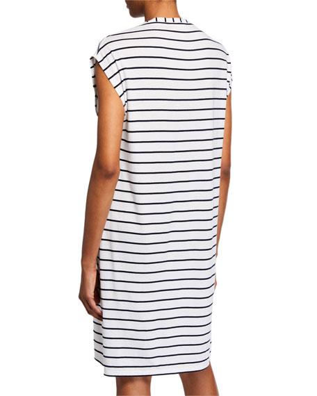 Afton Striped V-Neck Cap-Sleeve Sleepshirt