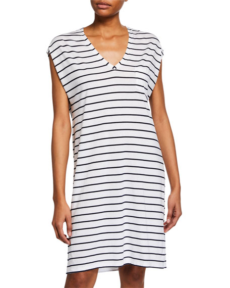 Skin Afton Striped V-Neck Cap-Sleeve Sleepshirt