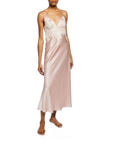 Christine Lingerie Aphrodite Lace-Trim Silk Nightgown