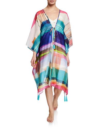 Brushstrokes Plaid Kimono