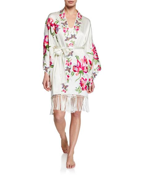 Josie Natori Lily Floral-Embroidered Fringed-Hem Robe