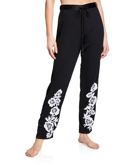 Josie Natori Pants FUJI FLORAL-EMBROIDERED LOUNGE PANTS