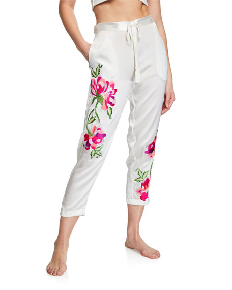 Josie Natori Pants LILY FLORAL-EMBROIDERED LOUNGE PANTS