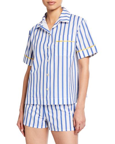 Lulu Short-Sleeve Striped Pajama Shirt