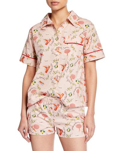 Juno Beach-Print Pajama Shorts