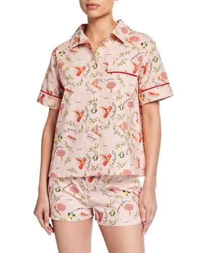 Lulu Short-Sleeve Beach-Print Pajama Shirt