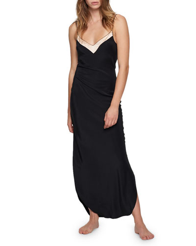 Amour Contrast-Trim Bias Nightgown