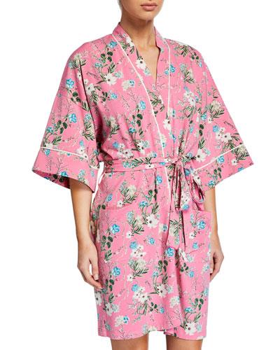 Ladybug Floral Short Kimono Robe