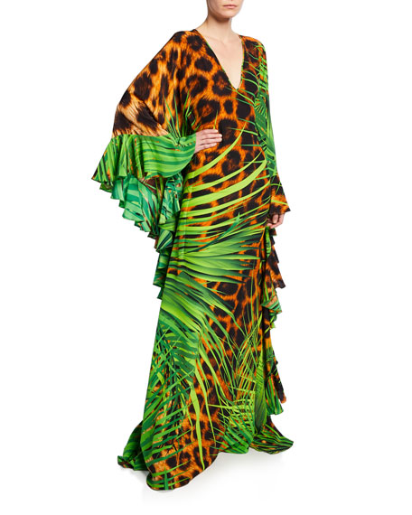 866507a9c Naeem Khan Jungle Animal Print V-Neck Caftan