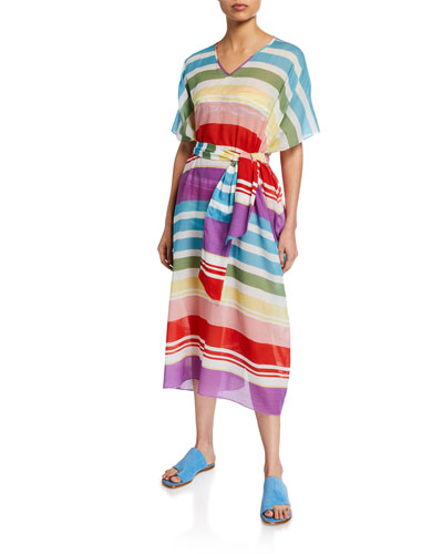 Striped V-Neck Short-Sleeve Belted Caftan