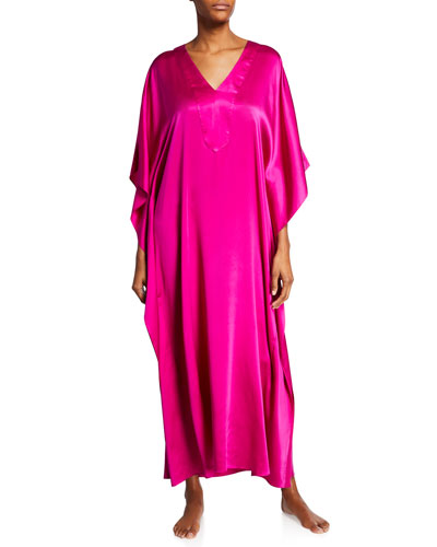 Long Placket Silk Caftan  Fuchsia