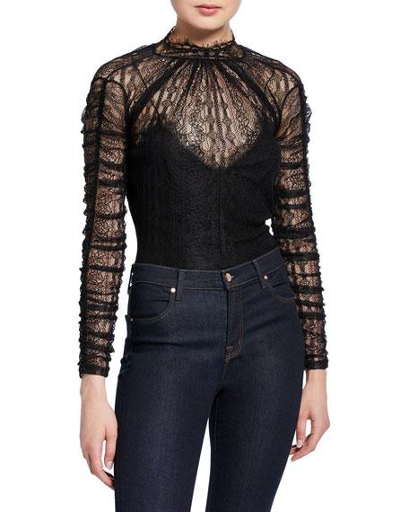 Sateen Lingerie Lace Long-Sleeve Bodysuit