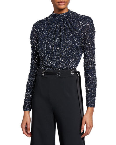 Speckled Sequined Long-Sleeve Bodysuit