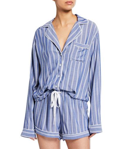 Striped Long-Sleeve Shortie Pajama Set