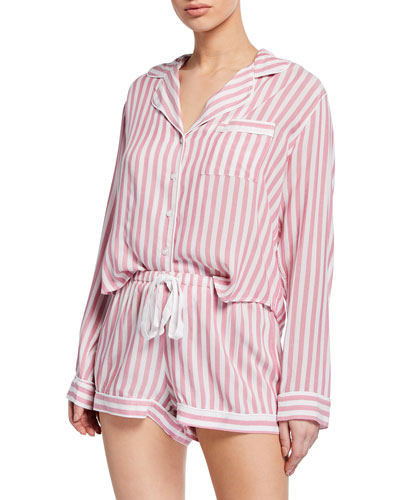 Striped Long-Sleeve Shortie Pajama Set
