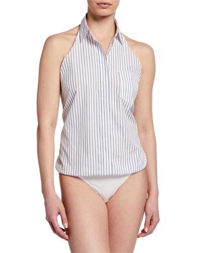 Sloan Striped Open-Back Bodysuit