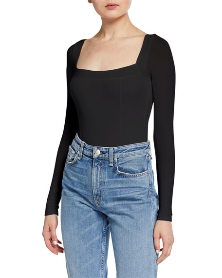 Long-Sleeve Square-Neck Bodysuit