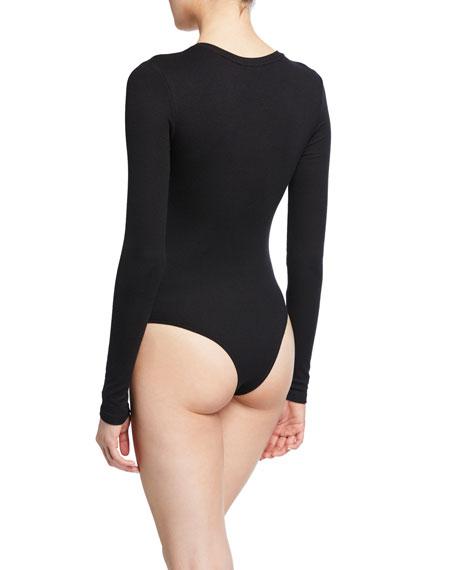Rib Long-Sleeve V-Neck Bodysuit