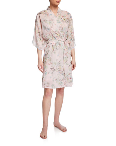 Dressing Effeuillage Lace-Trim Robe