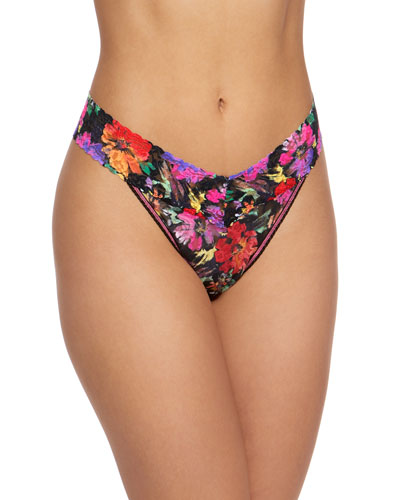 dab423f94 Floral-Print Original-Rise Lace Thong Quick Look. Hanky Panky
