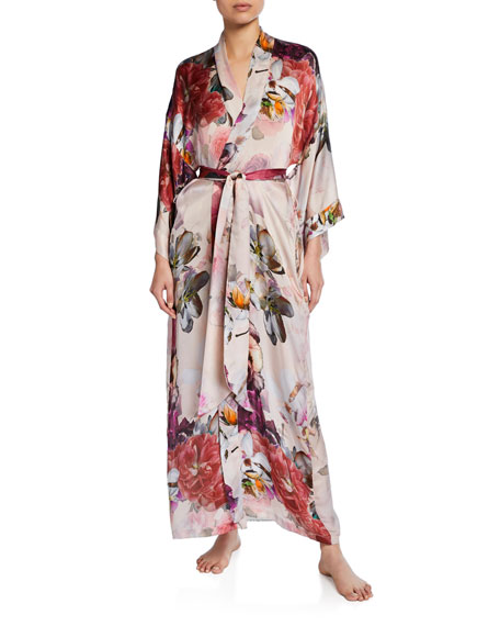 Christine Lingerie Camille Floral-Print Long Silk Robe