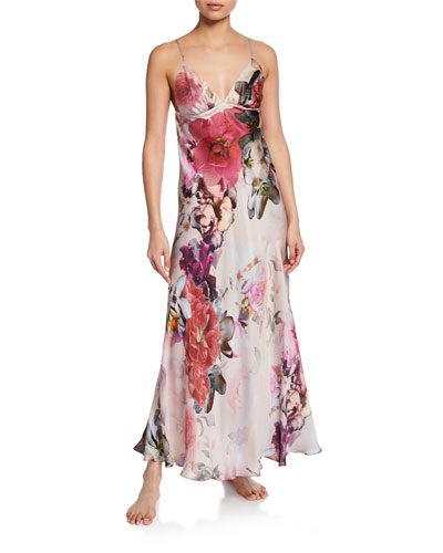 Camille Floral-Print Spaghetti-Strap Silk Gown