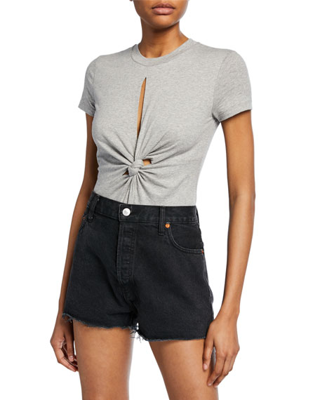 Compact Jersey Knot-Front Bodysuit