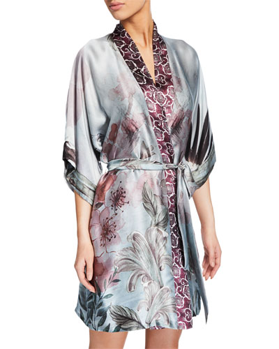 Solitude Floral-Print Silk Short Robe