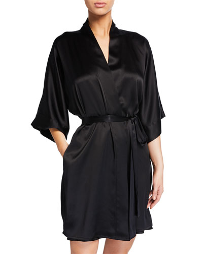 Solid Silk Short Robe