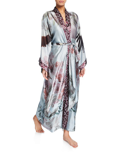 Solitude Floral-Print Silk Long Robe
