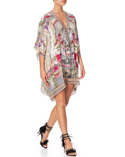 Short Lace-Up Printed Coverup Kaftan