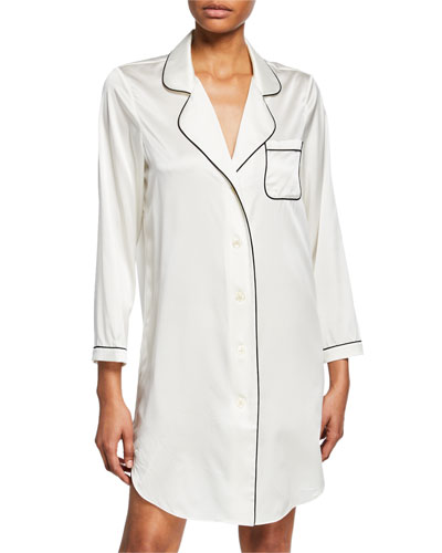 Jillian Contrast-Piping SleepShirt