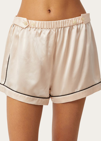 Fiona Tab-Adjustable Silk Lounge Shorts