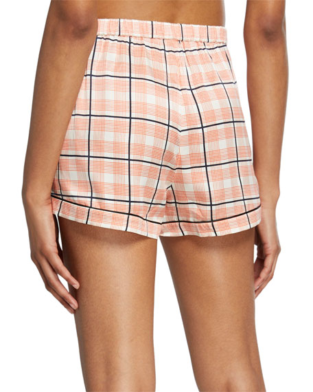 Fiona Tab-Adjustable Plaid Lounge Shorts