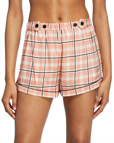 Fiona Tab-Adjustable Plaid Lounge Shorts