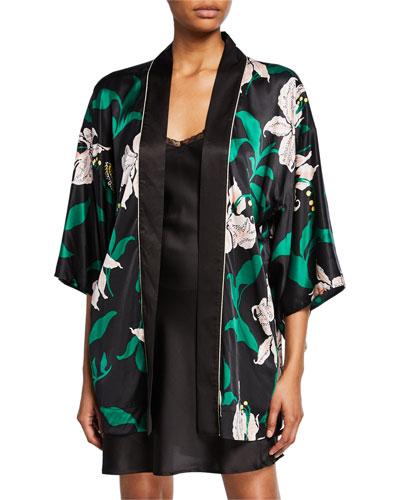 Nia Floral-Print Silk Robe