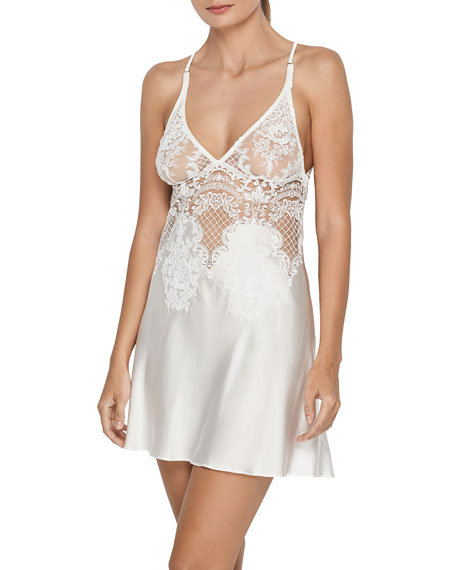 Bella Embroidered Lace Satin Chemise